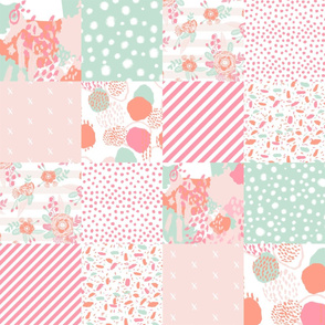 sophia cheater quilt painterly abstract fabrics florals coral and mint