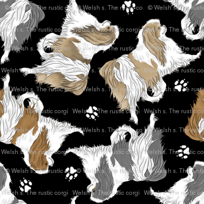Trotting Japanese Chin and paw prints - tiny black