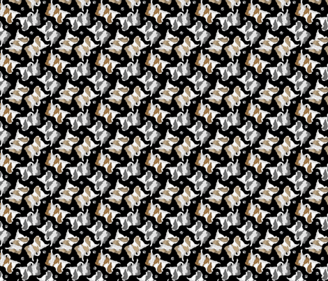 Trotting Japanese Chin and paw prints - tiny black fabric by rusticcorgi on Spoonflower - custom fabric