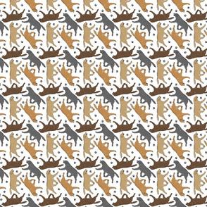 Trotting Labrador Retrievers and paw prints - tiny white