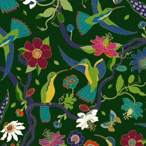 Hummingbirds and Passion flowers - Rainforest green