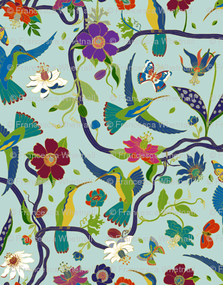 Hummingbirds and Passion flowers - Sky