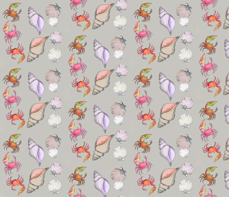 FIDDLER CRABS AND SEASHELLS ON GRAY fabric by heretherebemonsters on Spoonflower - custom fabric