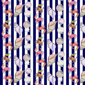 Fiddler Crabs and Seashells on Navy Cabana Stripe