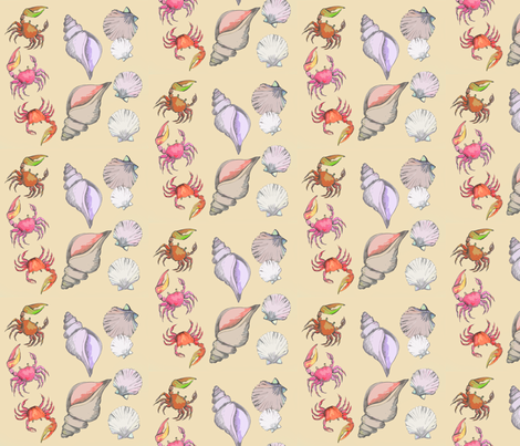 Fiddler Crabs and Seashells on Sand fabric by heretherebemonsters on Spoonflower - custom fabric