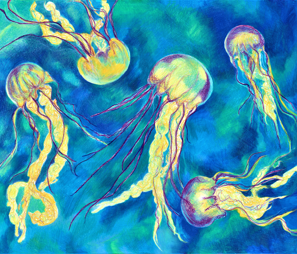 Dance of the Jelly Fish fabric by earth_emily on Spoonflower - custom fabric