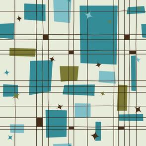 Mid-Century Modern - Grid & Stars (Teal) vertical