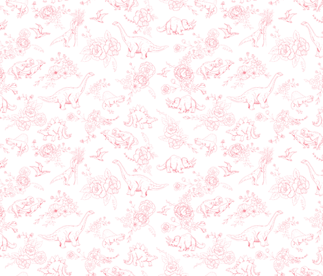 Dino Floral in Coral  fabric by hey_there_louise on Spoonflower - custom fabric