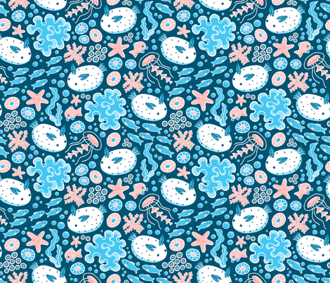 Sea Bunnies fabric by mia_valdez on Spoonflower - custom fabric