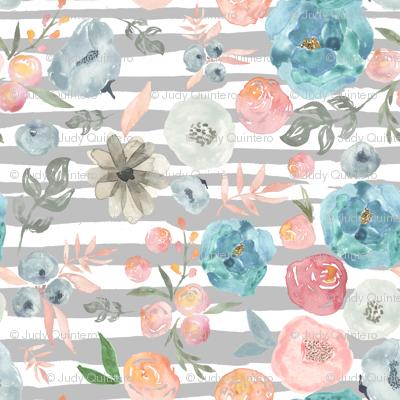 """8"""" Soft Breeze Flowers / Grey Stripes"""