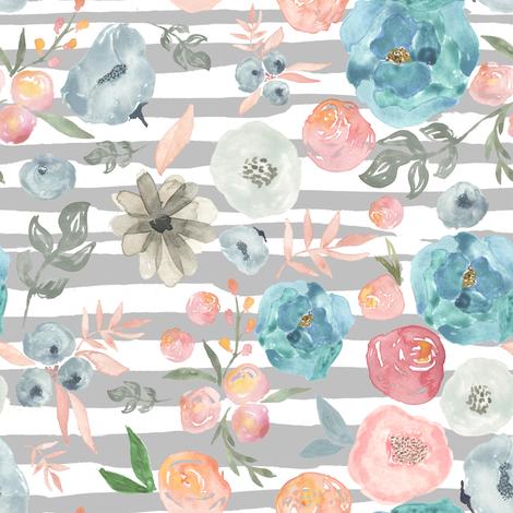 "8"" Soft Breeze Flowers / Grey Stripes fabric by shopcabin on Spoonflower - custom fabric"