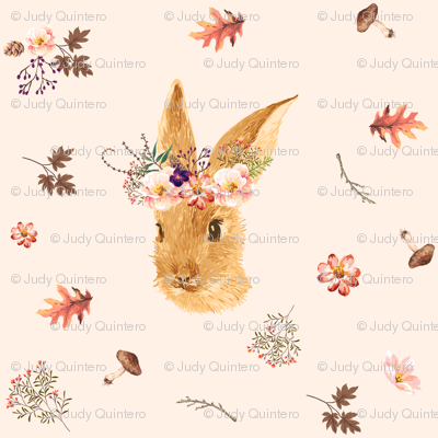 """3.5"""" Autumn in the Woods Bunny - Ivory"""