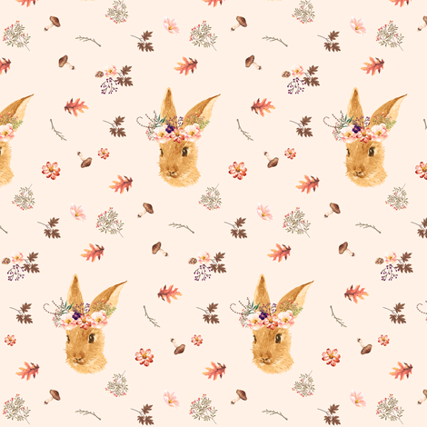 """3.5"""" Autumn in the Woods Bunny - Ivory fabric by shopcabin on Spoonflower - custom fabric"""