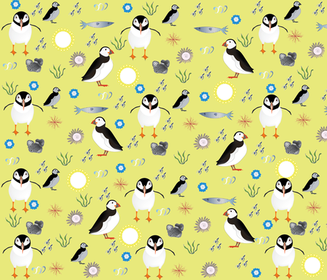 Puffin Birds on a Sunny Day fabric by gracelillydesigns on Spoonflower - custom fabric