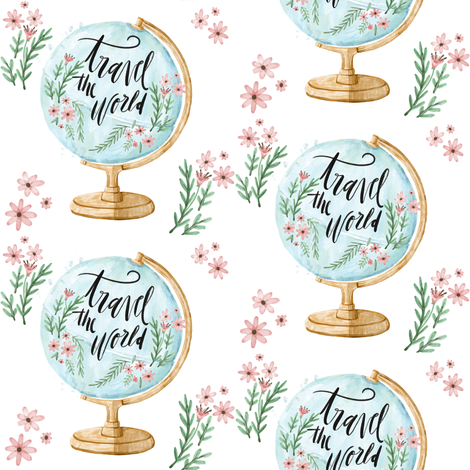 Travel the World with Flowers and Leaves fabric by hudsondesigncompany on Spoonflower - custom fabric