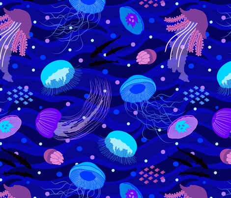 Dance of the Jellies fabric by moonpuff on Spoonflower - custom fabric