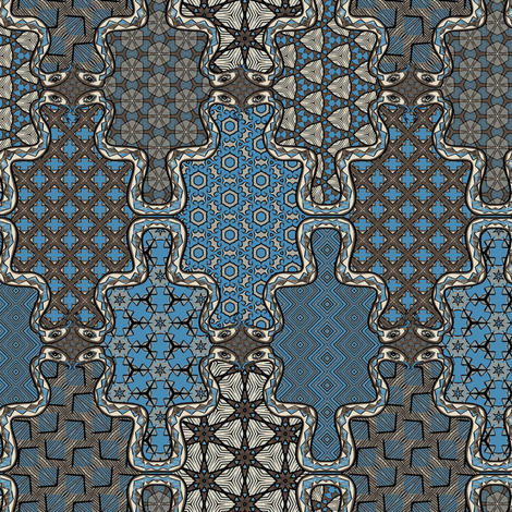 Voodoo Cheater Quilt Blue fabric by susiprint on Spoonflower - custom fabric
