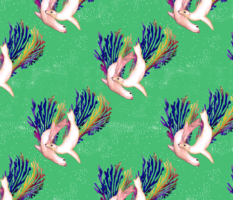 Sea Lion Aquatic Animal Patronus fabric by flockofnarwhals on Spoonflower - custom fabric