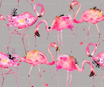 flamingos on gray smallest