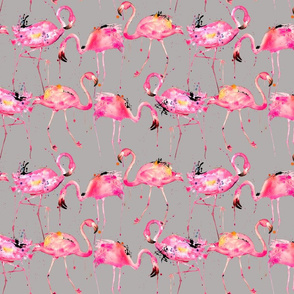 flamingo repeat on gray