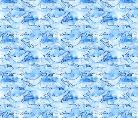 Watercolor Whales fabric by franticfabrics on Spoonflower - custom fabric