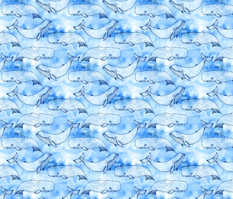 Watercolor Whales fabric by thebluemooseco on Spoonflower - custom fabric