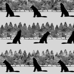 wolves - grey on fog