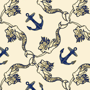 mermaids and anchors vintage navy and gold on cream