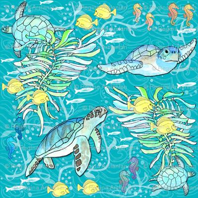 Aquatic Sea Friends, Teal