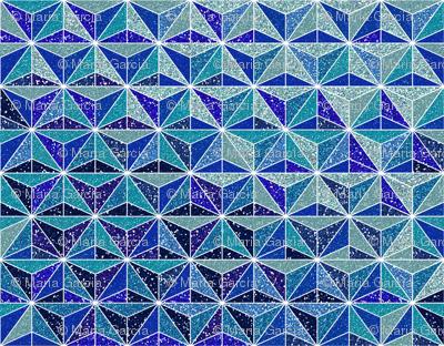 Blue Glitter Geometric