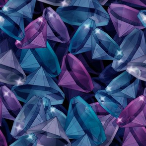 Blue and purple crystals .