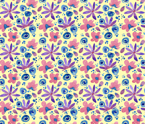 Yellow Watercolor Flowers fabric by hollymayb on Spoonflower - custom fabric