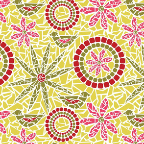 Flower and Bird Mosaic - yellow, pink and green