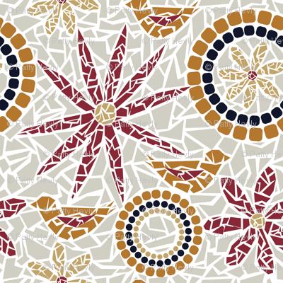 Flower and Bird Mosaic - beige, grey, red, gold