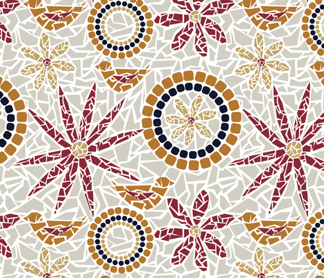 Flower and Bird Mosaic - beige, grey, red, gold fabric by whyitsme_design on Spoonflower - custom fabric