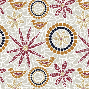 Flower and Bird Mosaic - beige, grey, red, gold