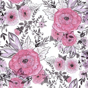 Watercolor . The floral pattern .