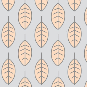 Leaves - pale peach and grey