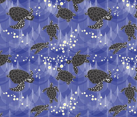 Sea Turtles in the Waves fabric by colour_angel_by_kv on Spoonflower - custom fabric