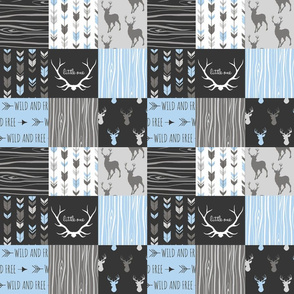 "3"" Wholecloth - Patchwork Deer in blue, black, and grey - baby boy woodland"