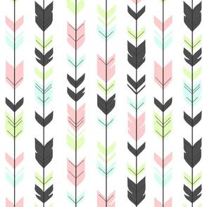 Arrow Feathers- pink, grey, Aqua, lime