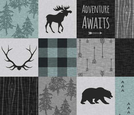 Adventure Awaits Quilt- Muted Aqua, Black, Grey fabric by sugarpinedesign on Spoonflower - custom fabric
