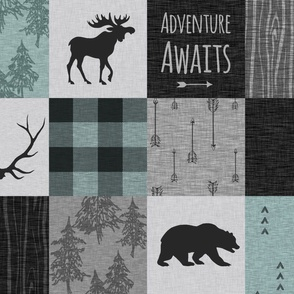 Adventure Awaits Quilt- Muted Aqua, Black, Grey