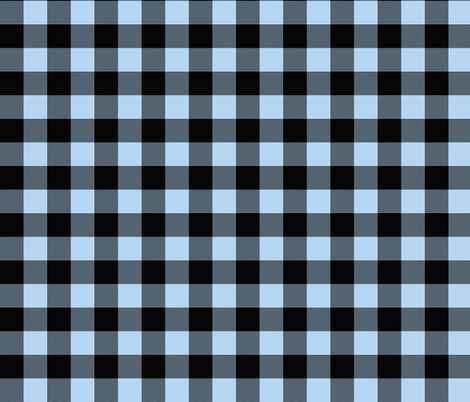"""1"""" Buffalo Plaid- baby blue and black fabric by sugarpinedesign on Spoonflower - custom fabric"""