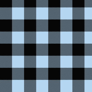 "1"" Buffalo Plaid- baby blue and black"