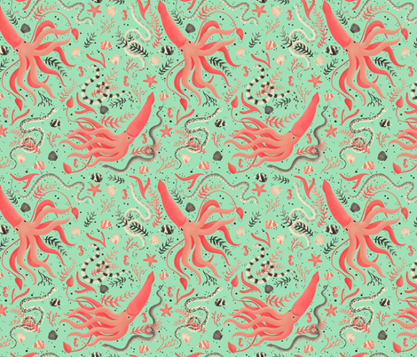 Squids and Serpents fabric by nuk on Spoonflower - custom fabric