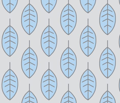 Leaves - Baby Blue and Grey fabric by sugarpinedesign on Spoonflower - custom fabric