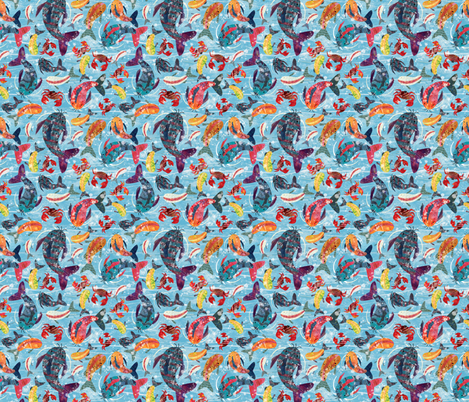 Fish and Crab fabric by sarah_treu on Spoonflower - custom fabric