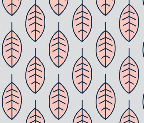 Big Leaves - Coral, navy, grey, sweetbrook fabric by sugarpinedesign on Spoonflower - custom fabric