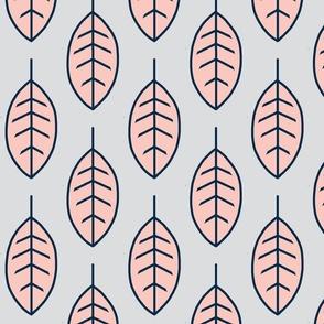 Big Leaves - Coral, navy, grey, sweetbrook